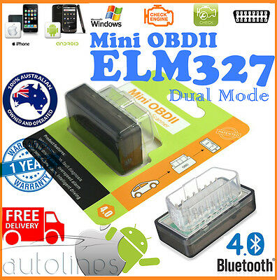 Mini ELM327 V1.5 OBD2 OBD Bluetooth 4.0 Code Scanner Tool For iPhone & Android