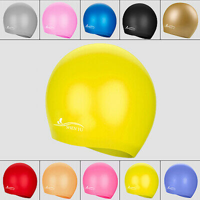Unisex Adult Kids Silicon Swimming Pool Cap Silicone Swim Hat Waterproof Shower~