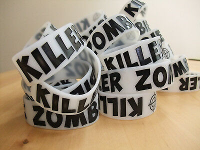 JOB LOT 25 x Glow in the Dark Silcone Zombie Killer Wristbands Car Boot Market