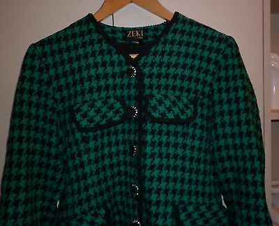 VINTAGE 1980s ENGLISH HOUNDSTOOTH WINTER JACKET  SIZE 12 EXCELLENT CONDITION