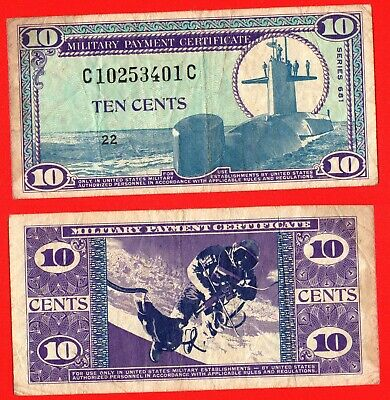 United States Military payment certificate series 681 10 cent banknote