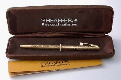 1970s SHEAFFER 12K Rolled Gold Chased Ball Point Pen with Case - RGR Casino