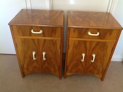 Art Deco Antique Wooden Bedside Tables with Bakelite Handles