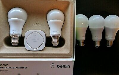 5 x Wemo Light Globes and Hub in Retail box And Extra Globes as Pictured