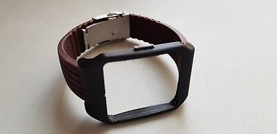 Sony SmartWatch 3 SWR50 Black Adapter & Brown Silicone Strap with Clasp