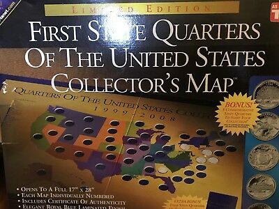 First State Quarters Of The United States 1999-2008 Collector's Map New