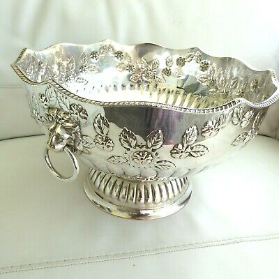 Vintage Heavy Quality Repousse Silver Plate Large Punch Bowl Lion Mask Handles
