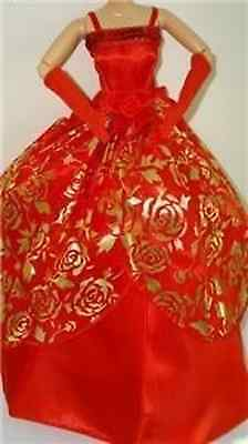 Popular Barbie Doll sized Clothes-1 Fashion dress+1 glove-good Girl gift-BEST@@@