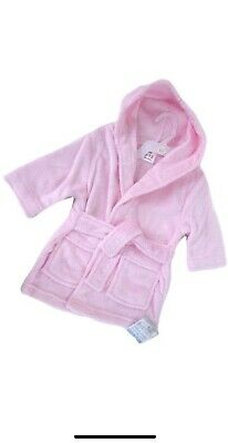 Pink Dressing Gown Soft Touch Baby Girl 12-18 Months Gift Plain Personalised New