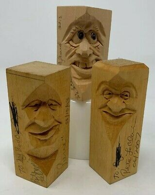 3!! Pete LeClair Signed Folk Art Wood Carved Figures Faces