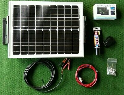 20W PV SOLAR PANEL FULL KIT CARAVAN MOTORHOME CAMPER 12v cable regulator bracket