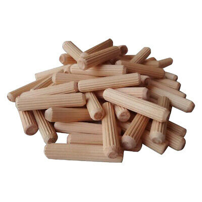 100Pcs Wooden Dowel Cabinet Drawer Round Fluted Wood Craft Dowel Pins Rods