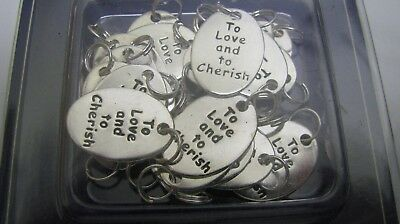 "100 PCS SILVER ""TO LOVE  TO CHERISH"" CHARMS WEDDING BRIDAL SHOWER FAVORS new"