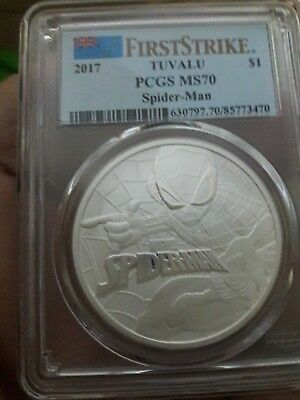 First Strike 2017 Tuvalu 1Oz Spiderman Series Silver Coin. Pcgs Ms 70