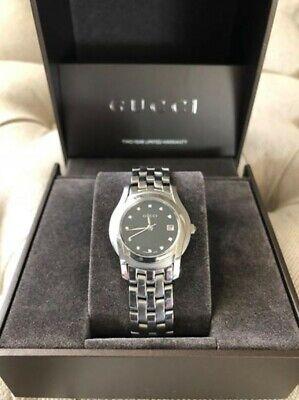 a8672ff410b Gucci Genuine Stainless 11 Diamonds Black Dial Date 5500 L Ladies Watch New  Batt