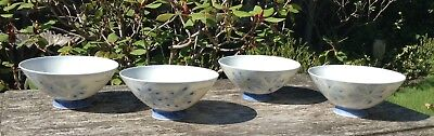 4 Vintage Porcelain Hand Painted Blue Flower Signed Japanese Chinese Rice Bowls