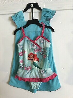 Disney NWT 3T 6X Little Mermaid Ariel Swim Suit One piece /& Cover Up Set