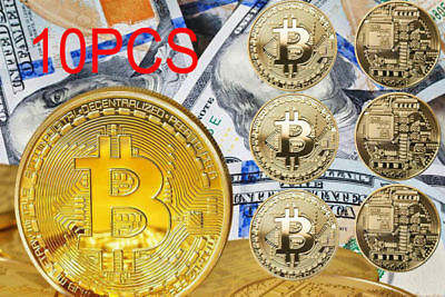 10PC Gold Bitcoin Commemorative Collectors Coin Bit Coin is Gold Plated Coin