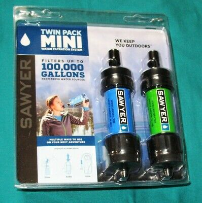 Sawyer SP2101 Portable Mini Water Filter Filtration System Blue Green Twin Pack