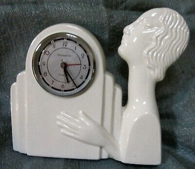 Nymph art deco white ceramic working battery quartz alarm clock very old Japan
