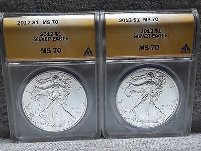 2012 & 2013 Ms70 Silver Eagles Anac Certified