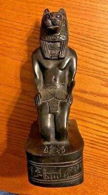 Ancient Egyptian Reproduction Bast Bastet Cat God Kneeling Statue Made In Egypt
