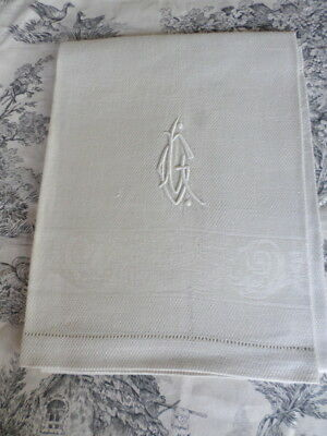 SUPERB French Antique UNUSED1920`s Guest towel Linen Waffle Damak mono LG/ LC