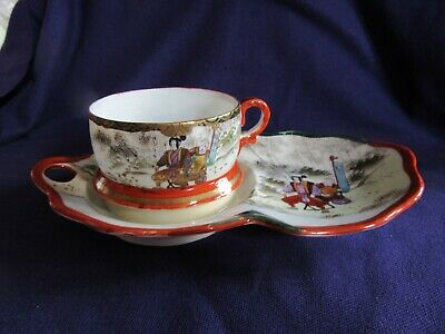 Hand Painted Japanese Egg Shell Porcelain Tea Cup & Biscuit Saucer (Oriental)