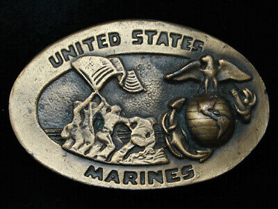 PL03112 VINTAGE 1970s *UNITED STATES MARINES* MILITARY ARMED FORCES BELT BUCKLE