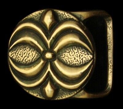 Qb06111 Rare 1975 Tech-Ether ***Lotus*** Solid Brass Abstract Artwork Buckle