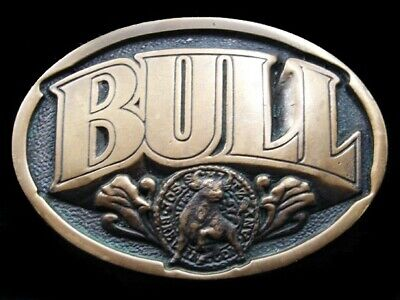 RJ13138 VINTAGE 1970s **SCHLITZ MALT LIQUOR BULL BEER** SOLID BRASS BELT BUCKLE