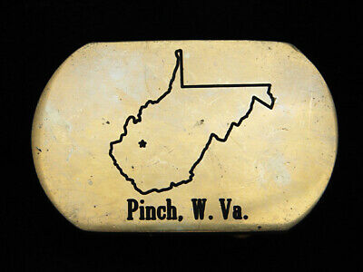 Ph07138 Vintage 1980 **Pinch, W. Va.** Commemorative Solid Brass Baron Buckle