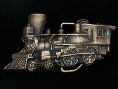 PL05131 VINTAGE 1970s CUT-OUT **STEAM ENGINE TRAIN** RAILROAD SOLID BRASS BUCKLE