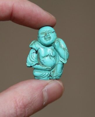 Antique Chinese carved Turquoise Buddha Statue, Qing Dynasty, 19th Century, FINE
