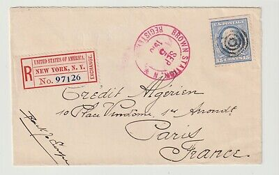 Stamps 1910 Usa Registered Envelope New York To Paris Postal History