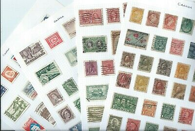 Canada stamps. 3 1/2 pages of used. Includes a few Queen Victoria etc (E466)