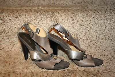 1020553e17c6 Nine West Womens Gray Silver Peep Toe Strappy Leather Heels Shoes Size 8