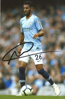 MAN CITY: RIYAD MAHREZ SIGNED 6x4 ACTION PHOTO+COA