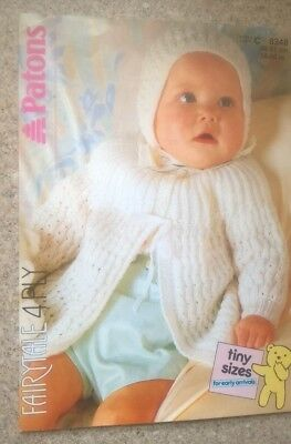 Baby Matinee Coat And Bonnet To Knit Pattern By Patons (Tiny Preemie Sizes Also)