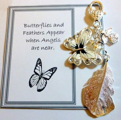 Butterflies and Feathers Appear when Angels are Near Key Ring Memorial Gift