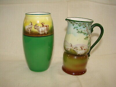 Antique Royal Bayreuth Mountain Goat Creamer Pitcher And Vase