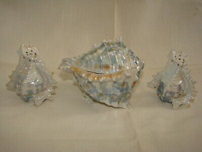 Antique Royal Bayreuth Spikey Shell S&p Set With Covered Sugar Bowl