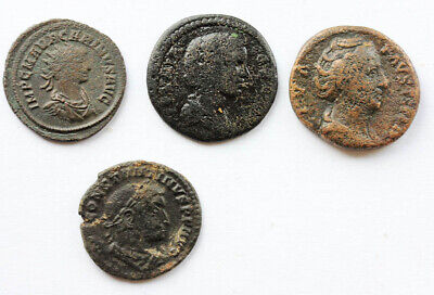 *sc*lot Of 4 Nice Middle Sized Roman Bronze Coins, F-Vf!!