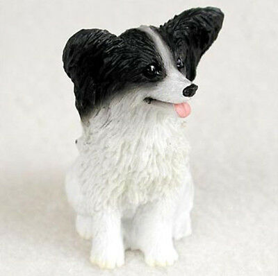 PAPILLON (BLACK WHITE) TINY ONES DOG Figurine Statue Resin Pet Lovers Gift