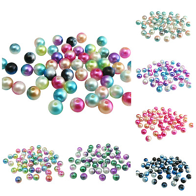 New Arrival 80Pcs 8Mm Two Tone Pearl Acrylic Round Beads For Jewellery Making