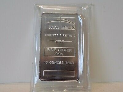 Ntr Metals 10 Troy Ounce .999 Fine Silver Bar - Sealed In Soft Plastic