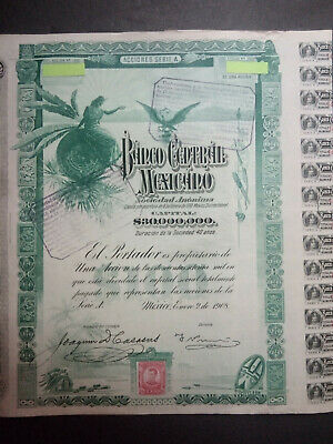 Lot   10  Banco    Centrale Mexicano    1908  -1905 + coupons   Speculation