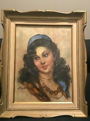 Vintage Gypsy Woman Oil Painting, signed and Framed. Beautiful piece!