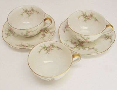 Rosalinde 3 cups & 2 saucers by Theodore Haviland New York