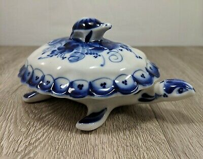 Vintage Russian Gzhel Porcelain Turtle Dish w/ Cover Hand Made in Russia Signed